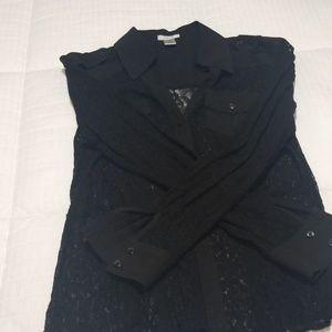 Black lace dress shirt